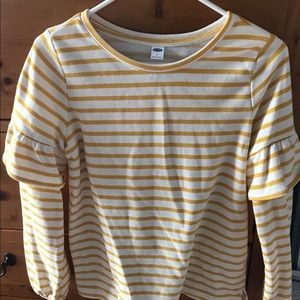 Old Navy Mustard and White Striped Top